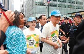 潘基文加入游行 关注气候变化