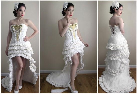 11卷厕纸做出的完美婚纱