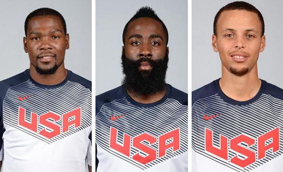美国男篮世界杯官方照 杜兰特哈登库里领衔