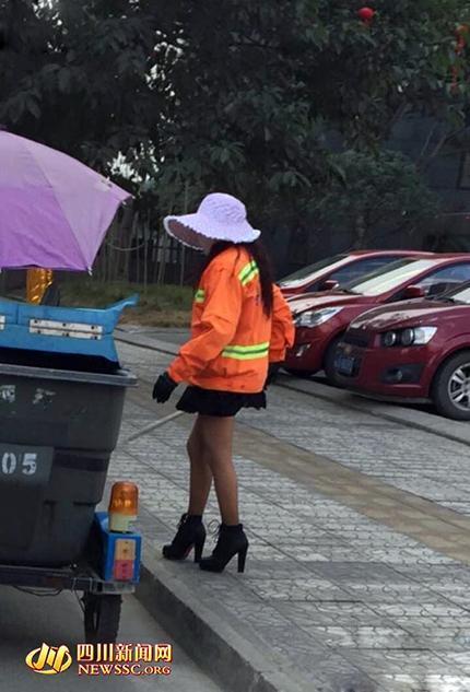 四川环卫女工穿丝袜高跟鞋上班