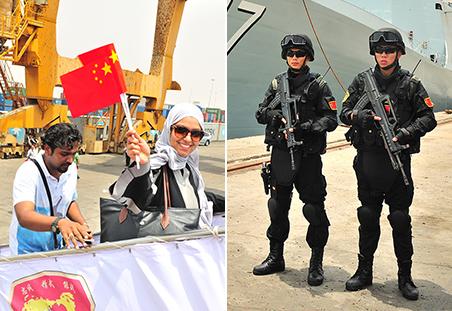 中国海军四赴也门撤侨 特警护卫