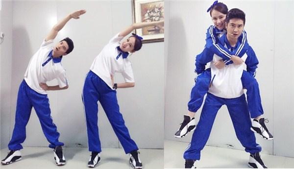 田亮夫妇身穿校服做广播操 跳水王子秒变逗比学长