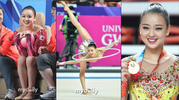 孙妍在大运会艺术体操夺冠 赛后露甜美笑容