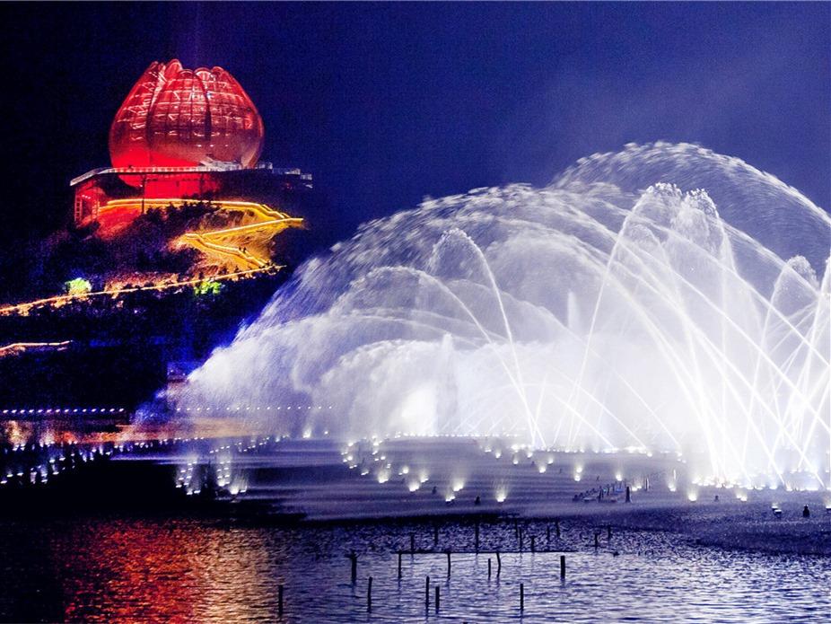 世园会夜景:水舞秀