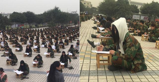 千名学生露天参加《学生守则》考试