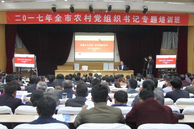 市文广新局党委书记、局长刘成爱在全市农村党组织书记培训班上作专题授课