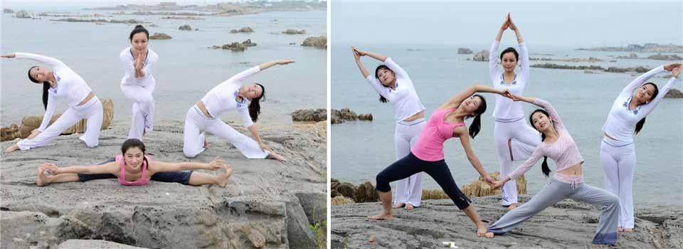 青岛美女海边瑜伽引关注 刚柔并济人与自然融为一体