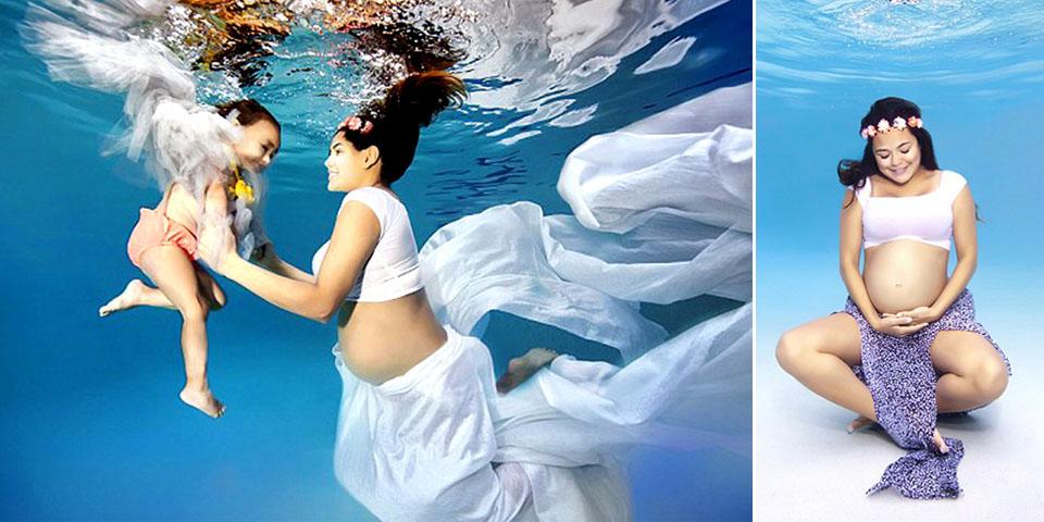 """唯美孕妇水下写真照 身姿灵动如""""美人鱼"""""""