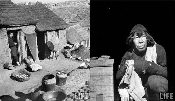 美国人拍1948年青岛:破败房子里农村妇女