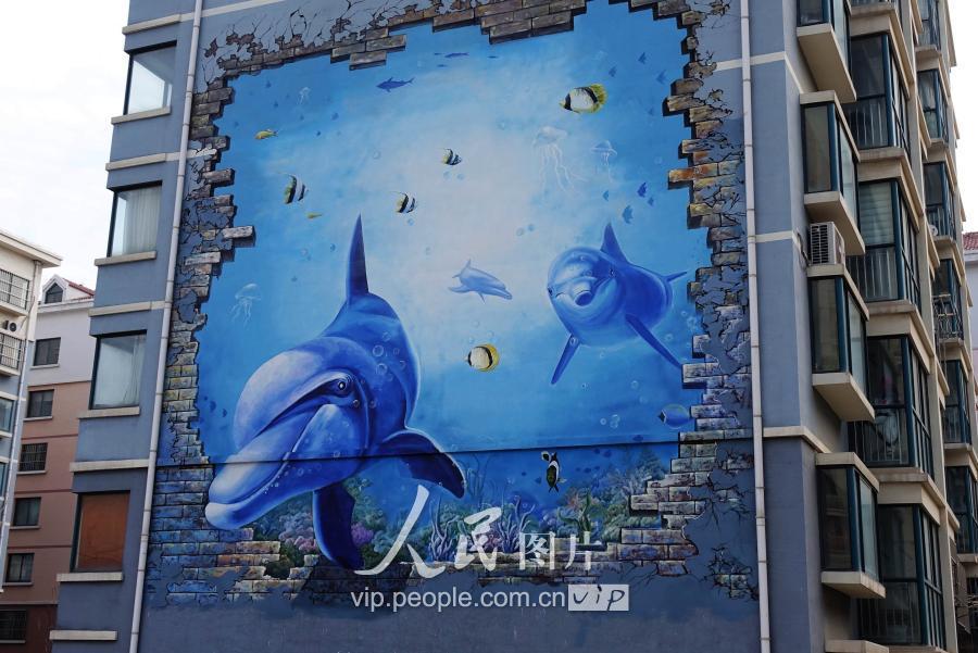 有创意!海洋主题墙面彩绘画扮靓青岛渔港