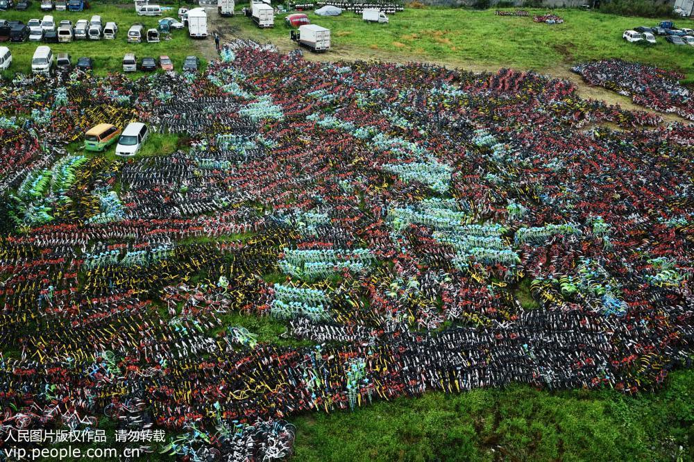 杭州共享单车密密麻麻堆积如山 场面壮观【2】