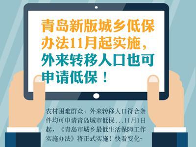 青岛新版城乡低保办法11月实施