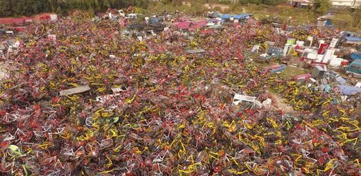 """郑州现共享单车""""坟墓"""" 近万辆占道单车被清理"""
