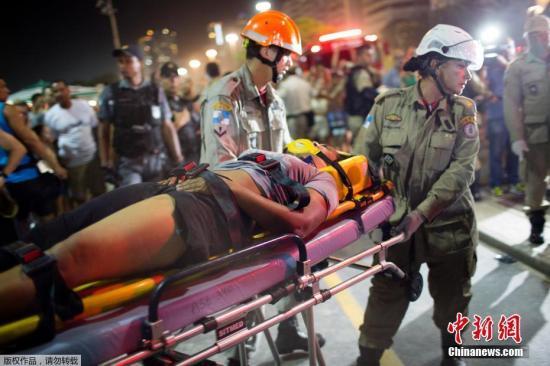 巴西著名海滩发生汽车撞人事故 已致1人死15人伤