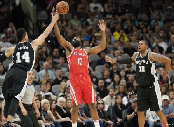 NBA:马刺大胜17分 终结火箭11连胜