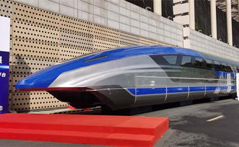 """時速600公里高速磁浮試驗樣車首次""""真車""""展出"""