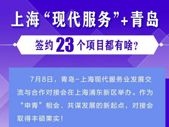 """一圖讀懂丨上?!艾F代服務""""+青島,簽約23個項目都有啥?"""