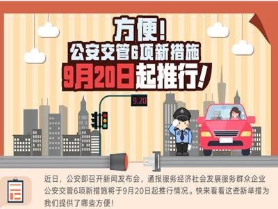 方便!公安交管6項新措施9月20日起推行!