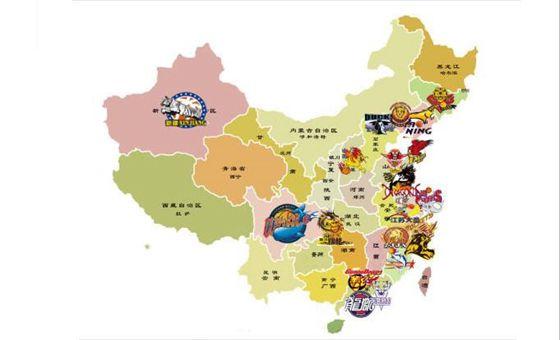 中国地图展示CBA球队分布 北方球队占少数